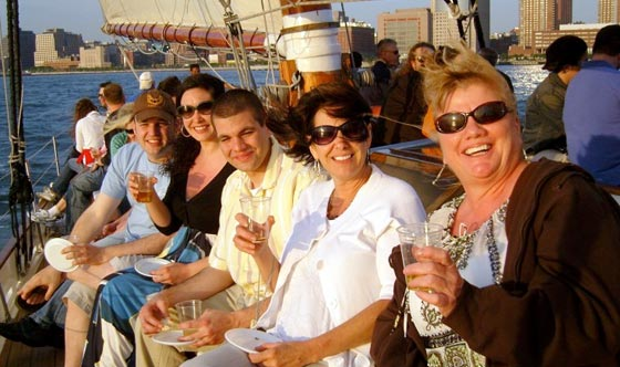 Guests enjoying a Private Beer Tasting aboard the Schooner Adirondack III in Boston Harbor