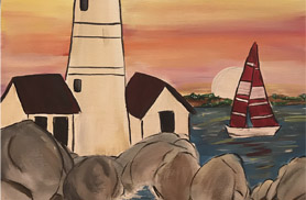 Boston Painting Night on a boat in Boston Harbor